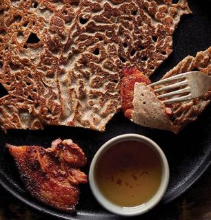 Buckwheat pancakes and grilled salt pork from my family's farm