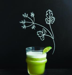 pisco sour with cilantro, lime and agave