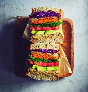 mega veggie sandwich to go,  for two