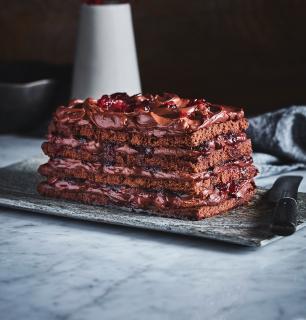 gâteau étagé choco-canneberges