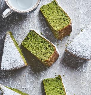 super cake au thé matcha et  à la farine d'amandes